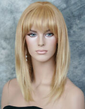 100% HUMAN HAIR NEW STRAIGHT Pale Blonde Mix WIG with  Bangs IHGP 613-27
