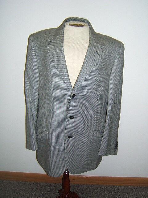 Talbots Men Blazer Houndstooth Dark Navy & White 42 R Wool Italian Fabric (jk)