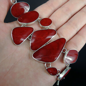 Beautiful-RED-CORAL-amp-Solid-925-Sterling-Silver-Bracelet-Jewellery-Quality
