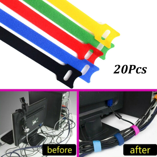 7-100pcs Multicolor Wire Cable Nylon Strap Wrap Tie Hook Loop Organizer bgy