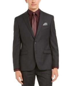 MSRP $425 Bar Iii Men's Slim-Fit Plaid Suit Separate Jacket Size 36 R/M37.5