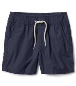 Gap Baby Boy Poplin Pull-on Cotton Shorts Pants Navy Blue Size 12-18 Months NWT