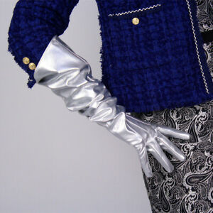 Details about PATENT LONG GLOVES Unisex PU Leather Large Shine Silver  Thanos Infinity Gauntlet