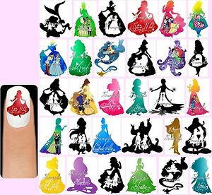 60x-DISNEY-SILHOUETTES-Nail-Art-Decals-Free-Gems-Princesses-Princess-Frozen