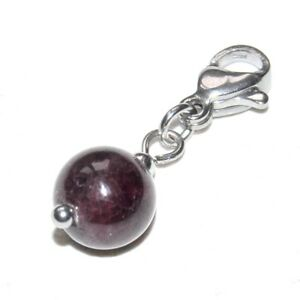 Charms-Pendentif-acier-inoxydable-colori-argent-perle-grenat-bijou-pendant