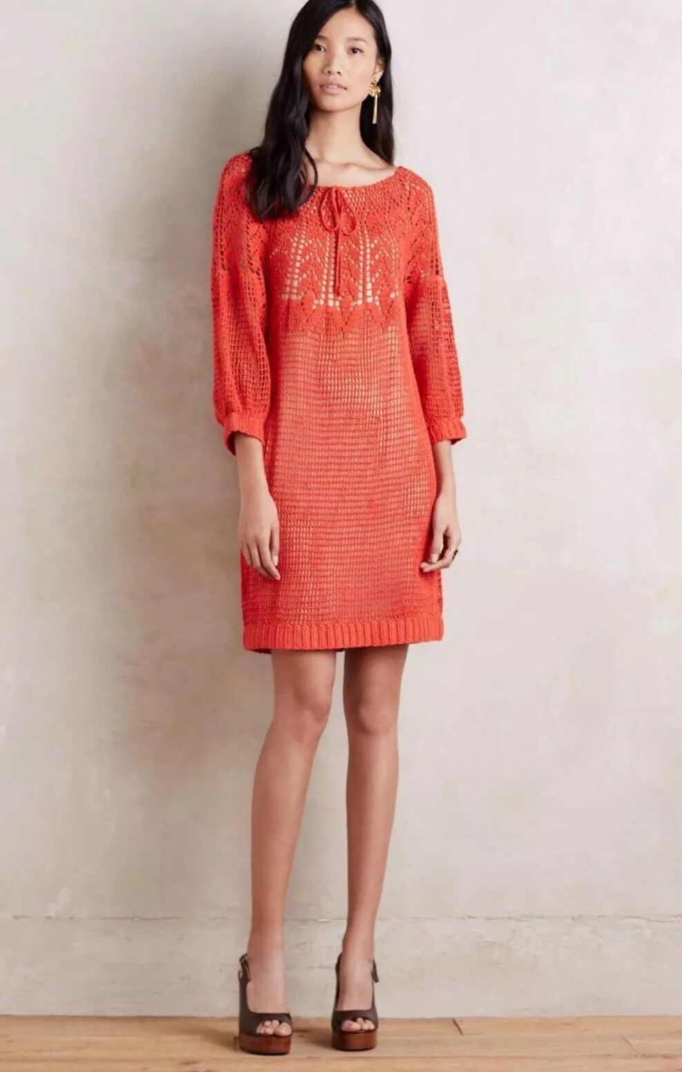 NEW Anthropologie Kgoldvilas Red Crochet Isabel Dress Size Small 4 6