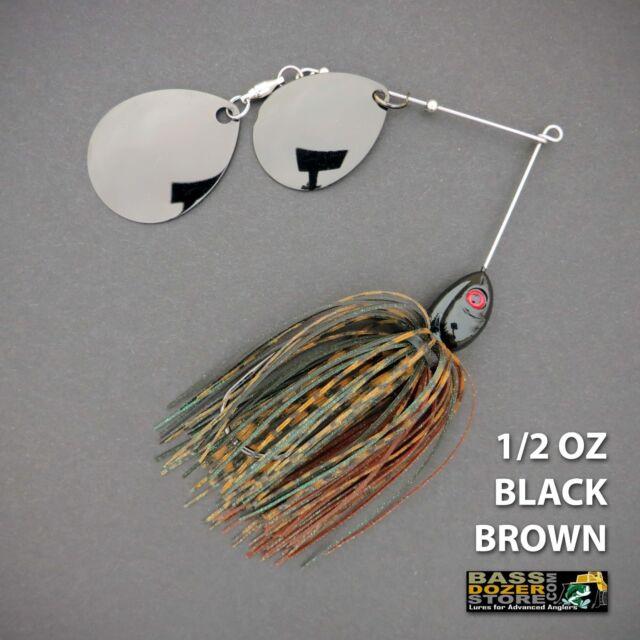 Bassdozer spinnerbaits DOUBLE THUMPER 1/2 oz BLACK BROWN spinner bait lure