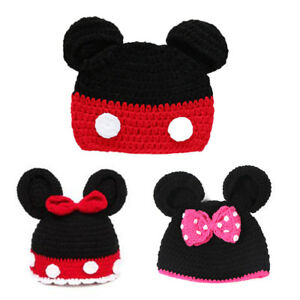 Kids Baby Girl Mickey Minnie Mouse Crochet Hat Winter Warm Cap ... fd3dfc265499