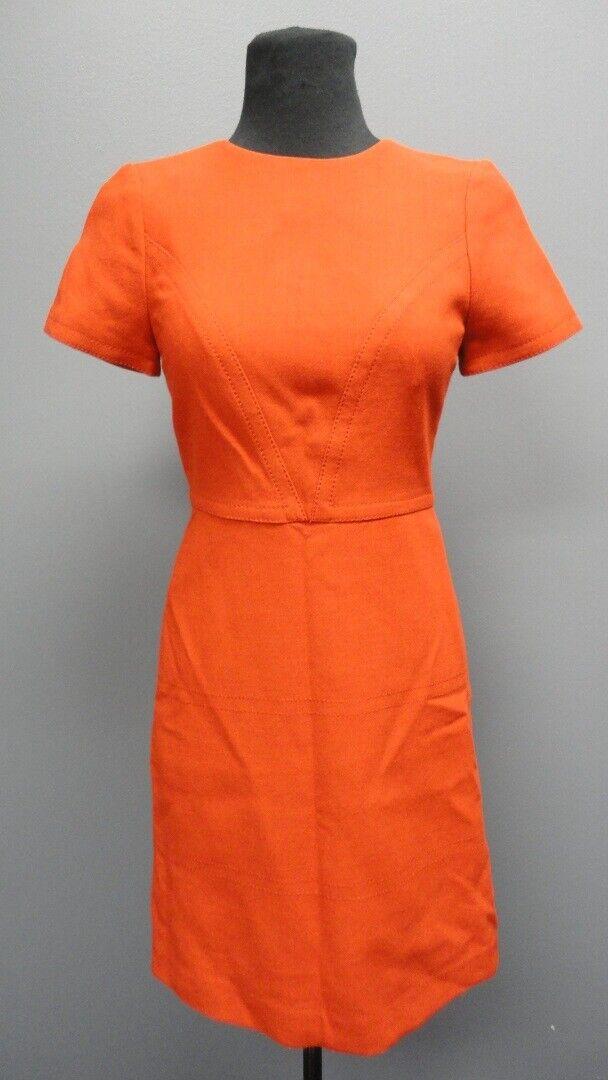BANANA REPUBLIC Orange Back Zip Short Sleeves Knee Length Dress NWT Sz 0 GG4993