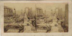 Eugene Sevaistre Girgenti Tempio Greco Sicilia Italia Foto Stereo Albumina c1860