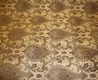 56 Wide Monte Cristo Pecan Damask Chenille Fabric With Gold Upholstery Fabrics