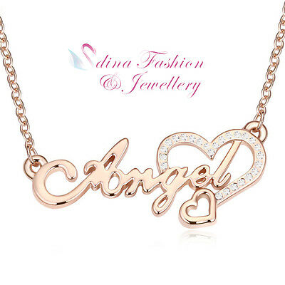 18K Rose Gold Plated Czech Crystal letter Angel Heart Necklace Fashion Jewellery