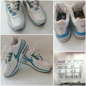 VINTAGE-Nike-Air-Max-Ltd-Bianco-Blu-Pelle-UK-8-Scarpe-da-ginnastica-MOLTO-RARA-AM90-3