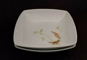 Two-2-222-FIFTH-8-034-EARLY-BIRDS-Square-Cereal-Soup-BOWLS-Fine-Porcelain