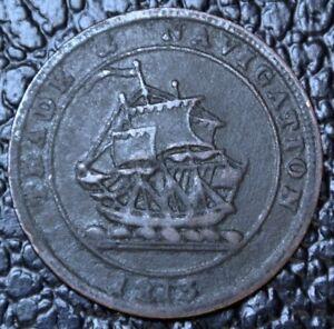 1813-NOVA-SCOTIA-HALF-PENNY-TOKEN-Trade-amp-Navigation-Large-Wave-BR-965-NS21A1