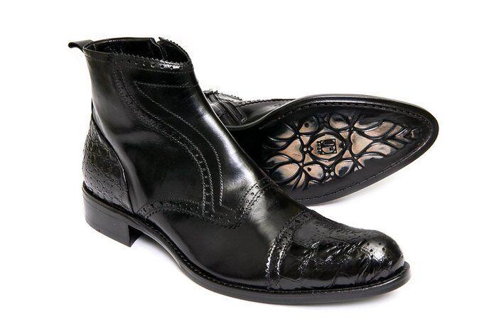 Jo Ghost 3168 para Hombre de Cuero Negro Tobillo Alto botas Cremallera