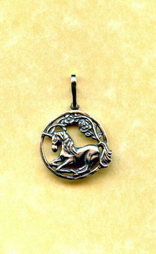 "SS  3//4/"" Unicorn /& Rose Pendant"