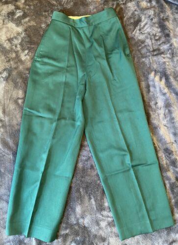 Vintage 1940s Womens Grass Green Wool Slacks Pants