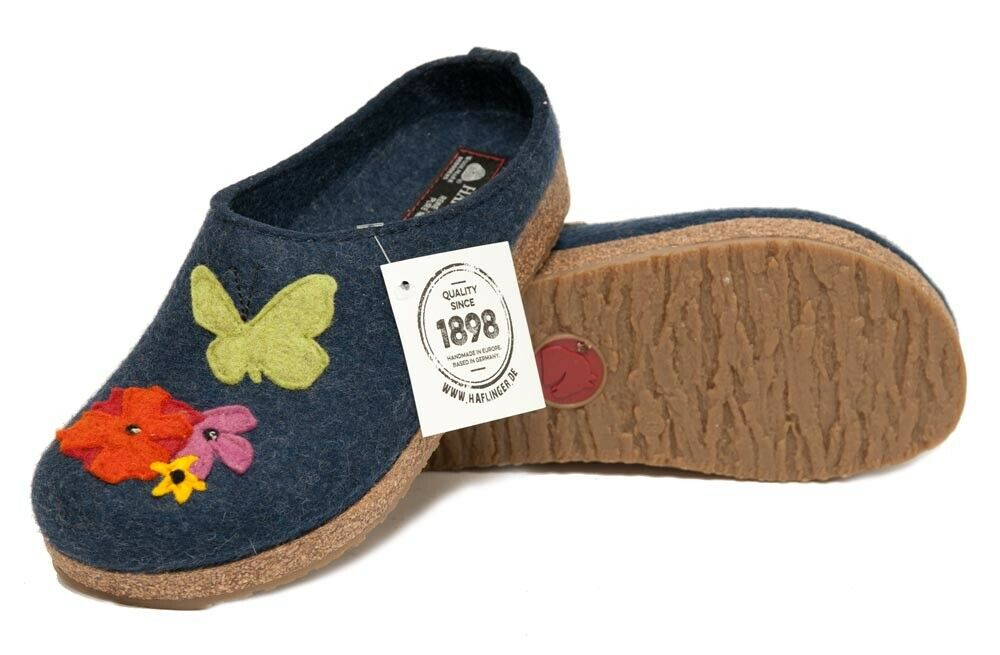Bien Haflinger Filztoffel Grizzly Garden Pantoufles Jeans Bleu Feutrine Fleurs Neuf Luxuriant In Design