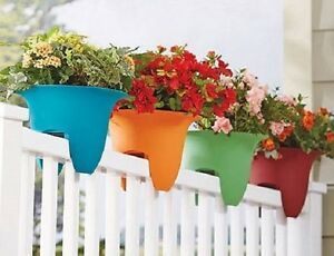 Flower Plastic Railing Planter Pot Garden Porch Rail Outdoor Decor
