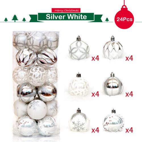 24 Pcs//Box Christmas Glitter Ball Ornaments Xmas Tree Ball Hanging Party Decor