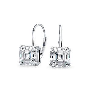 6066b7ea7b5dc Details about 3 CT Solitaire Square Asscher Cut Cubic Zirconia Drop  Earrings Sterling Silver