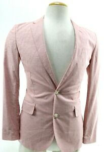 J-Crew-Ludlow-NWT-Men-039-s-Sport-Coat-Unstructured-Size-34S-Coral-Houndstooth