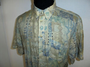 Mc Percy Hemd crazy pattern Kurzarm 80s Oberhemd Freizeithemd vintage 80er XL