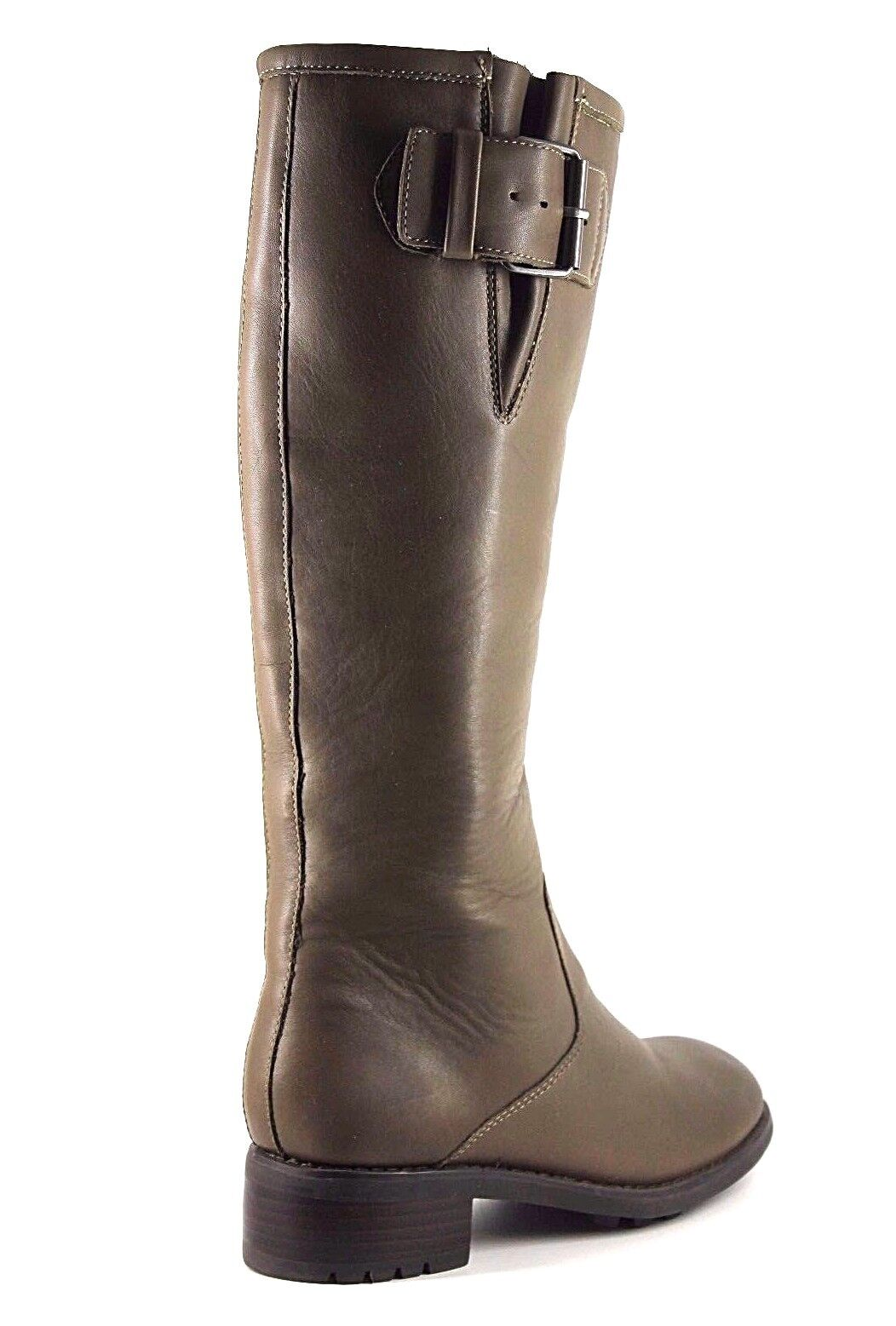 Boden Womens UK 5 EU 38 Khaki Leather Tall Knee High Block Heel New Boots