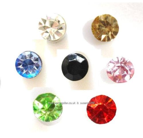 6mm Brillante Colorido Cristal Magnético Pendientes Clip-on non perforado Imán Stud