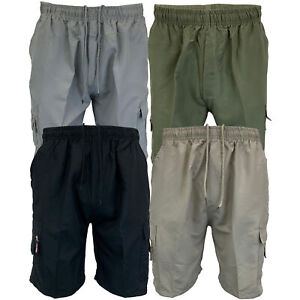 Mens-Plain-Combat-Cargo-Shorts-Knee-Length-Sports-Running-Casual-Fashion-Summer