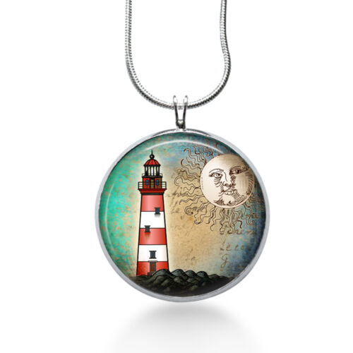 Handmade Silver plated lighthouse necklace