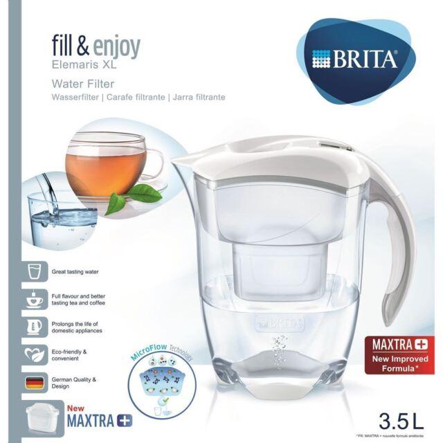 Brita Elemaris XL Maxtra + Plus 3.5L Filtro de Agua Mesa Jarra + Cartucho Blanco