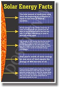 Solar Energy Facts New Classroom Science Poster Ebay