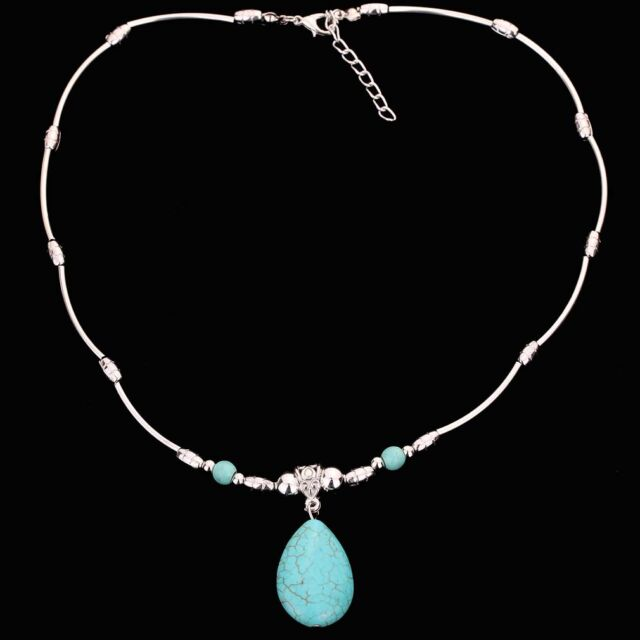 Charming Design Tibetan Silver Chain Turquoise Beads Green Oval Pendant Necklace