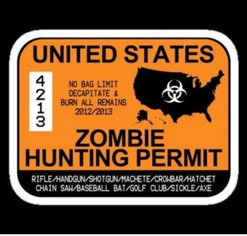 Zombie Hunting Licenece Sticker decal car laptop scrapbooking cute