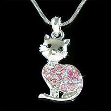 w Swarovski Crystal PINK ~Kitty Cat~ Kitten Lovely Cute animal Pendant Necklace