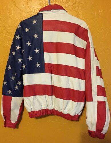 lederen genaaid motorjas Wilson Flag American wgEUt