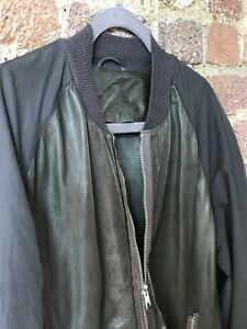 Details about ALL SAINTS MENS GREY FOREST GREEN BOMBER JACKET SIZE LARGE EXCELLENT CONDITION