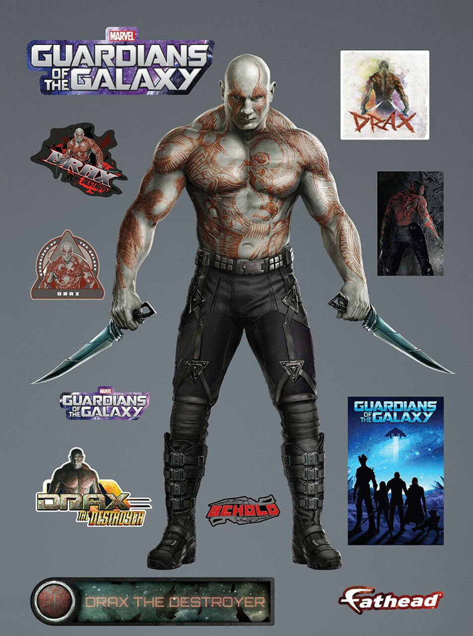Fathead Drax Guardian of the Galaxy Marvel Comics Big Applique Murale 96-96097