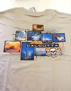 New Authentic Calcutta Fishing Snapshot Short Sleeve T-Shirt - XL