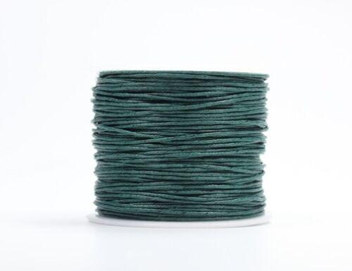 75m Rolle Wachsband Baumwolle 1mm Wachsschnur gewachst Kordel Auswahl 0,07m//€