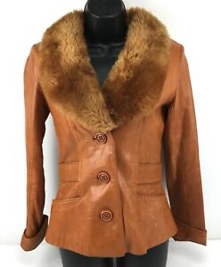 Vintage-Sheep-Mates-Leather-Jacket-Fashion-Coat-Fur-Collar-Brown-Lined