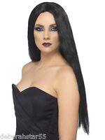 Smiffys Ladies Long Black Witch Wig Halloween Sexy Fancy Dress Costume Wig