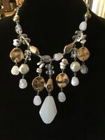 Chicos Signed Brand Necklace In Silver And Clear And Opaque White Beads