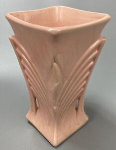 RARE-VTG-McCoy-Pottery-Art-Deco-Pale-Pink-Vase-w-Square-Mouth-2-Handles