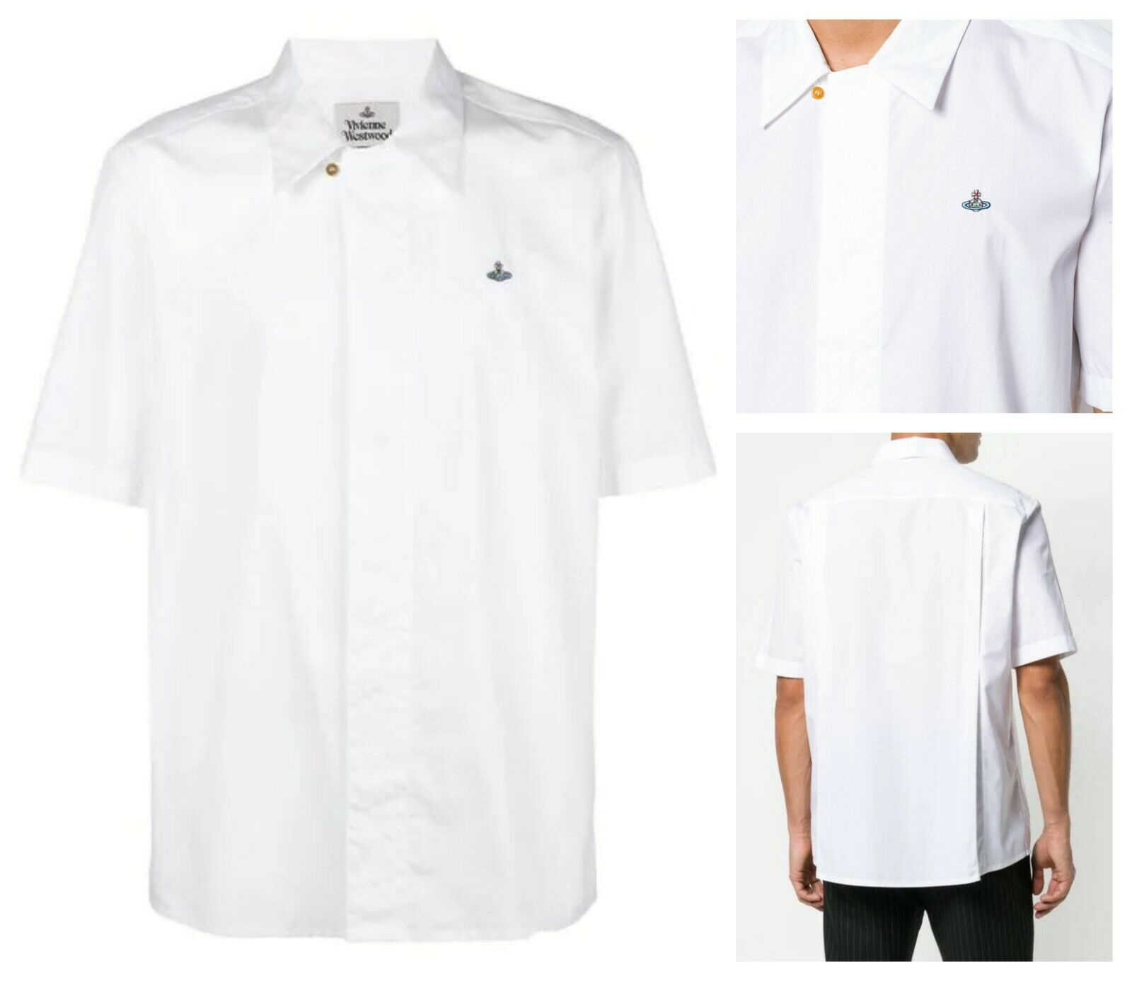 AUTHENTIC VIVIENNE WESTWOOD WHITE ORB SHORT SLEEVES SHIRT. IT 46 (SMALL)