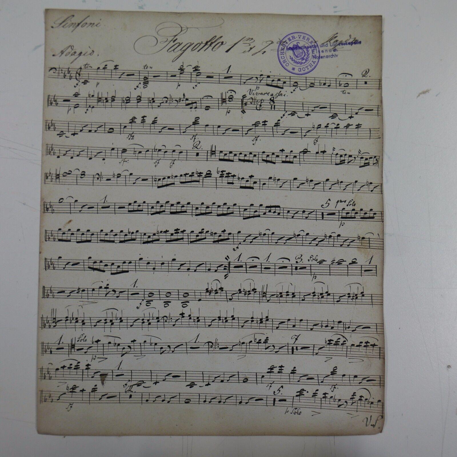 HAYDN symphony 99 , bassoon - fagotto part , antique music manuscript