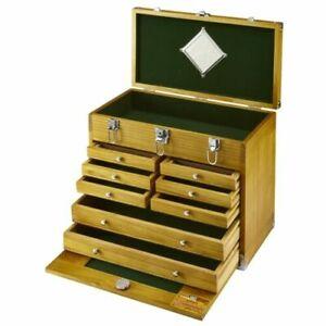 8-Drawer-Wood-Tool-Chest-Walnut-Stain-Fine-Auto-Shop-Project-Storage-Box-Felt