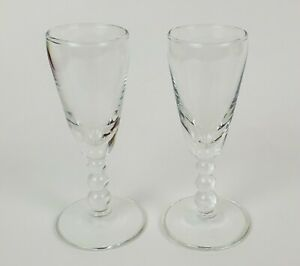Vintage-Sherry-Cordial-Shot-Glasses-Three-Ball-Stem-Clear-1-oz-Set-of-Two-2